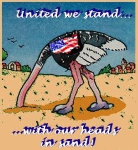 US ostrich head in sand
